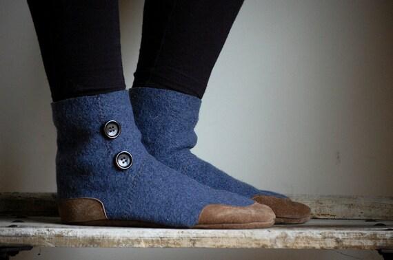 Wool Slipper Socks, Eco friendly Mukluks, women size 11, men size 10, Rain on a Tin Roof, SALE