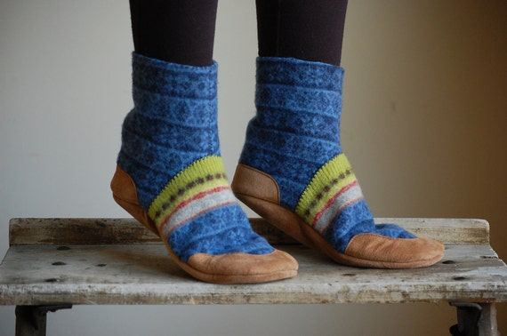 Wool Slippers, Leather Soles, Eco friendly, by Wooly Baby, youth size 2.5, To My Own Tune, SALE