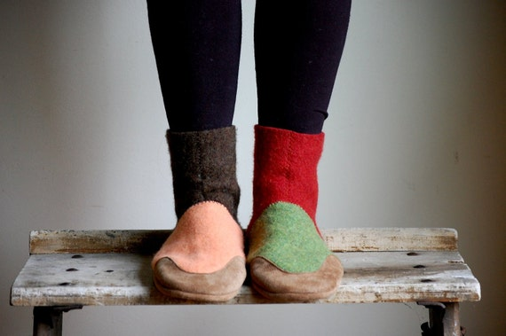 Womens Slippers, Leather & Felted Wool, sizes 6.5, wide width, Fall and Winter