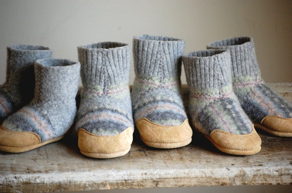 Wool Baby Slipper Socks, Leather Soles, Sizes 0-12, 6-18 months, Over in the Meadow