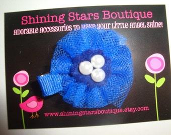 Hair Accessories - Felt Flowers - Elegant Royal Blue Felt and Tulle Scalloped Flower Hair Clippie With Beaded Center