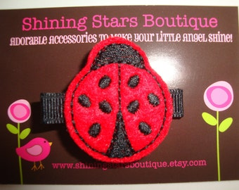 Hair Accessories - Felt Hair Clips - Black And Red Embroidered Boutique Felt Ladybug Hair Clippie - Garden Bugs