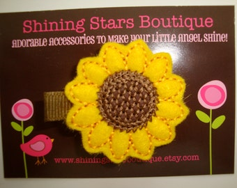 Girls Hair Accessories - Felt Hair Clips - Yellow And Brown Embroidered Felt Sunflower For Autumn Or Fall