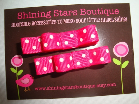 Hair Accessories - Shocking Pink And White Polka Dots 'Tuxedo Style' Mini Bow Boutique Hair Clippie Set For Girls Of All Ages