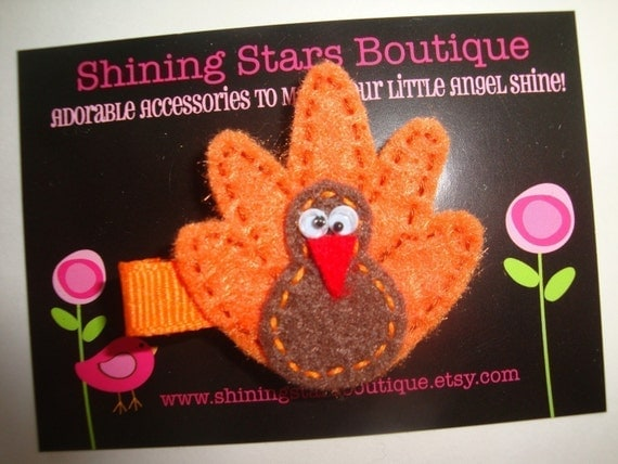 Felt Hair Clips - Thanksgiving Holiday Brown And Orange Felt Fall Turkey Hair Clippie For Girls Of All Ages