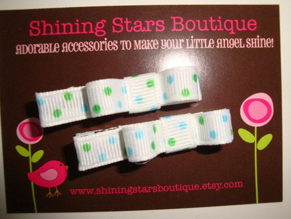 Aqua Blue And Apple Green Polka Dots 'Tuxedo Style' Mini Bow Boutique Hair Clippie Set - Cute Accessory For Spring Holidays Or Easter Pictures And Portraits