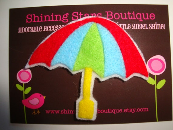 Felt Hair Clips - Red, Ocean Blue, Lime Green, And Yellow 'Summer Beach Umbrella' Boutique Felt Hair Clippie For Girls
