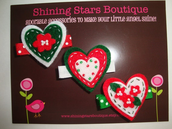 Hair Accessories - Felt Hair Clips - Red, White, And Green Stitched And Beaded Felt Hearts Hair Clippies Trio - Large Size