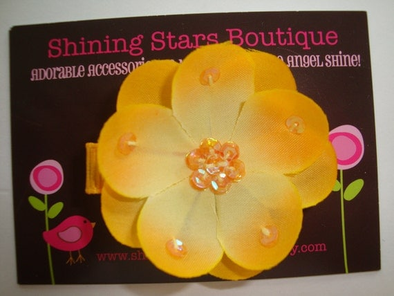 Small Golden Yellow Layered Boutique Flower Blossom With Sequin Center And Petals - Great Headband Accessory