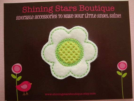 Hair Accessories - Felt Hair Clip - Large White And Lime Green St. Patrick's Day Embroidered Felt Daisy Flower For Girls