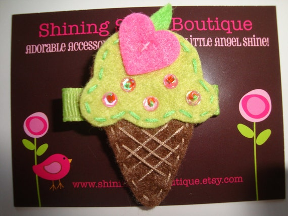 Felt Hair Clips - Hair Accessories - Sweet Treat Lime Green Ice Cream Cone With Hot Pink Heart And Beaded 'Sprinkles' Hair Clippie