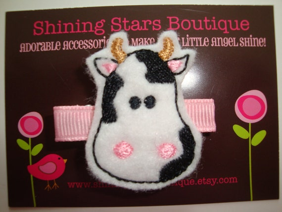Felt Hair Clips - Baby Girl Hair Accessories - Black, White, And Pink Boutique Embroidered Felt Cow Hair Clippie - Farm Animal