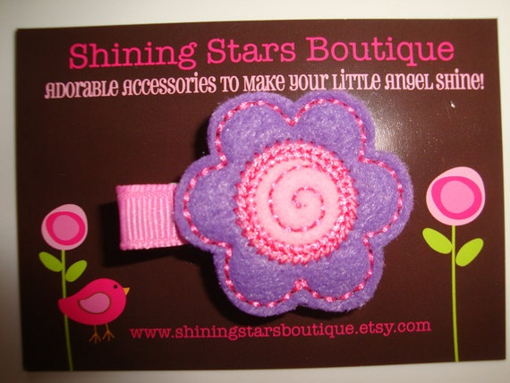 Girls Hair Accessories - Felt Hair Clips - Dark Lavender And Pixie Pink Embroidered Felt Daisy Flower With Swirl Center