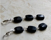 Sammy Earrings with Black Glass Beads