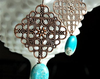 Ridley Earrings in Copper with Turquoise colored stones