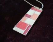 Vintage Style Necklace with Enamel Pendant - Art Deco Mondrian