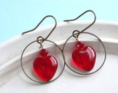 My One and Only Love - Red Heart and Brass Hoop Earrings