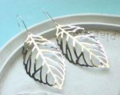 Silver Leaf Earrings - Silver Statement Earrings