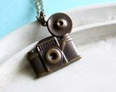 Camera Necklace - Shutterbug - Antiqued Brass Vintage Camera Necklace