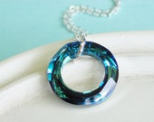 Swarovski Crystal Necklace - Cosmic Ring and Sterling Silver Necklace - La Mer