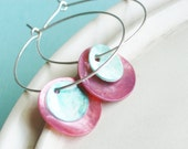 Pastel Shell Coin Earrings