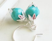 Beaded Earrings - Turquoise and Silver