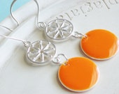 Statement Earrings - Clementine - Orange and Silver Earrings
