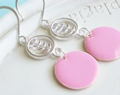 Silver Earrings - Pretty in Pink - Enamel and Silver Statement Jewelry