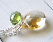 Citrus Twist - Pineapple Quartz, Peridot and Sterling Silver Necklace