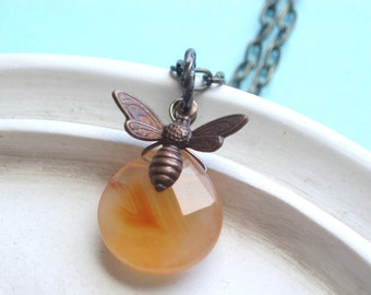 Pretty Bee - Carnelian Agate and Antiqued Brass Necklace