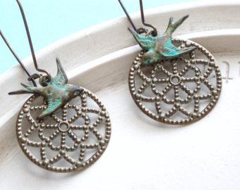 Bird Earrings - Handmade Sparrow Earrings - Antiqued Brass Bye Bye Birdie