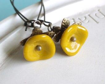 Beaded Flower Earrings - Mustard - Goldenrod Bloom