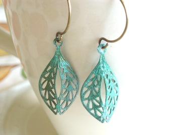 Patina Drop Earrings - Zanzibar - Verdigris Filigree Dangle Earrings