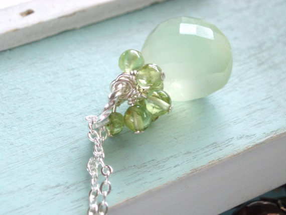 Gemstone Briolette Necklace - Green Chalcedony Peridot and Sterling Silver Necklace - Lime Soda