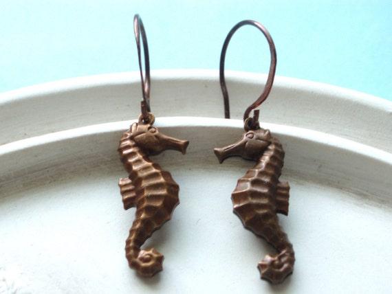 Seahorse Earrings - Oxidized Copper