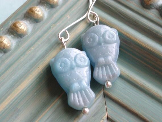 CIJ SALE - Blue Hoot Earrings
