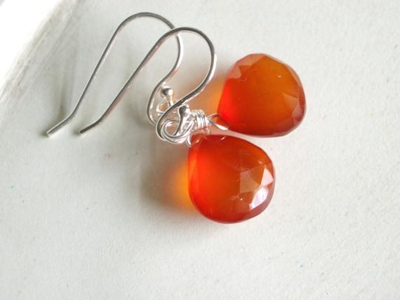 Gemstone Briolette Earrings - Sunset - Burnt Orange Chalcedony and Sterling Silver