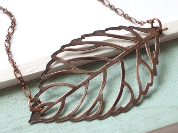 Copper Rustic Leaf Necklace for Fall