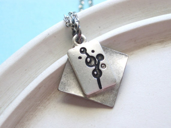 Silver Necklace -  Mod Flower Charm Handmade