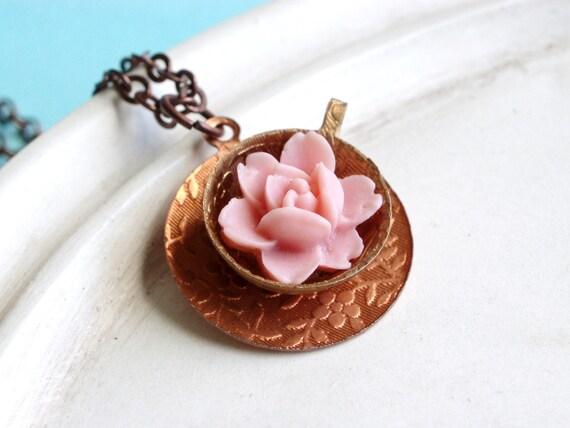 Tea Cup Necklace - Lucite Rose - My Cup of Tea Necklace