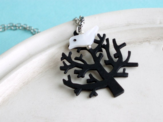 Willow Tree Necklace - Black Fall Tree with White Bird Silver - Perched