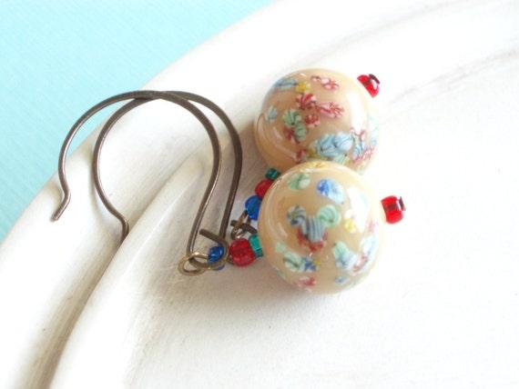 Vintage Beaded Earrings - Flower Fields - Vintage Japanese Millefiori Earrings
