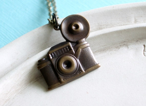 Camera Necklace - Shutterbug - Antiqued Brass Vintage Camera Necklace