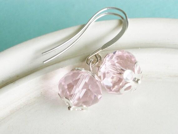 Pink Crystal Earrings - Pretty in Pink - Pastel Earrings