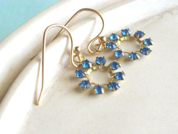 Snowflake Earrings - Vintage Swarovski Rhinestone Earrings