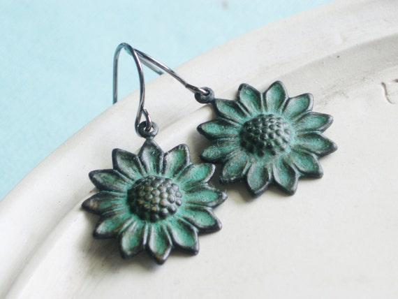 Patina Drop Earrings - Sunflower - Verdigris Filigree Dangle Earrings