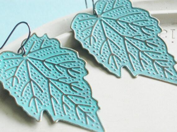 Statement Earrings - Brass Leaf Earrings