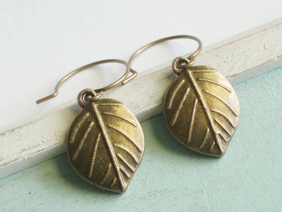 Leaf Earrings - Golden Leaves
