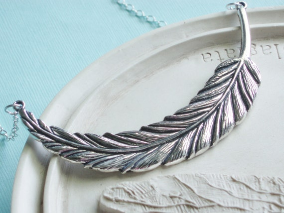 Silver Statement Necklace - Silver Feather