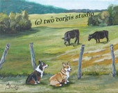 "Original Acrylic Painting  ""Pasture Pals""....  11"" x 14"" Stretched Canvas"
